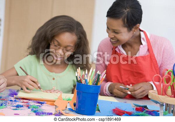 Elementary school art class - csp1891469
