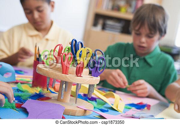 Elementary school art class - csp1873350