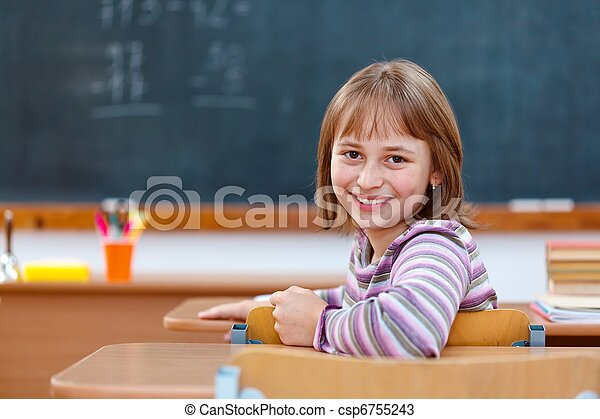Elementary school girl turning back and smiling - csp6755243