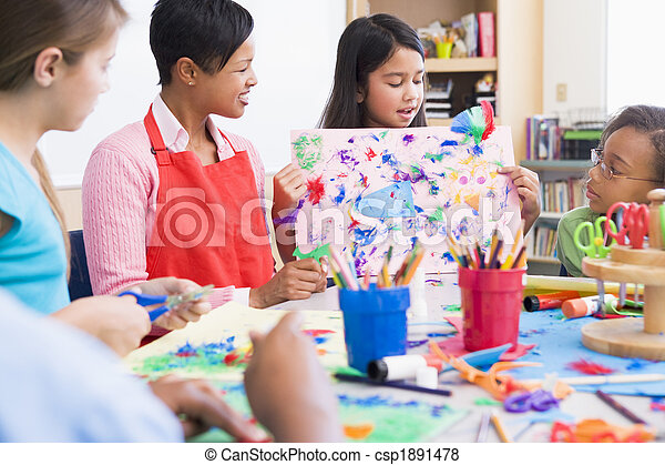 Elementary school pupil in art class - csp1891478