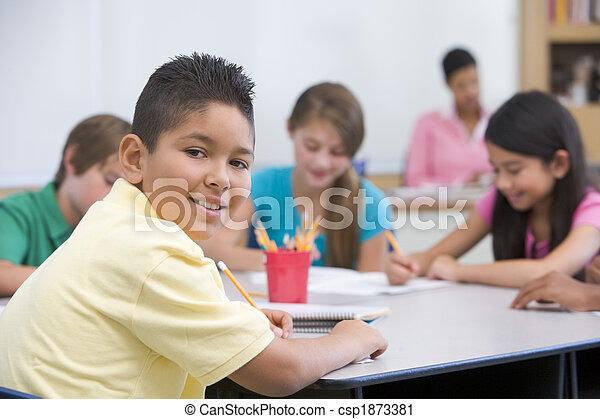 Elementary school pupil in classroom - csp1873381