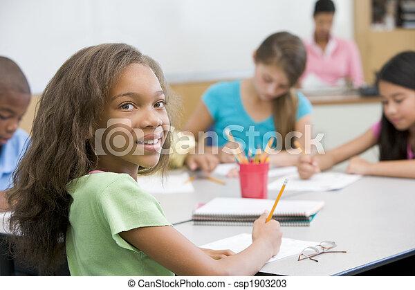 Elementary school pupil in classroom - csp1903203