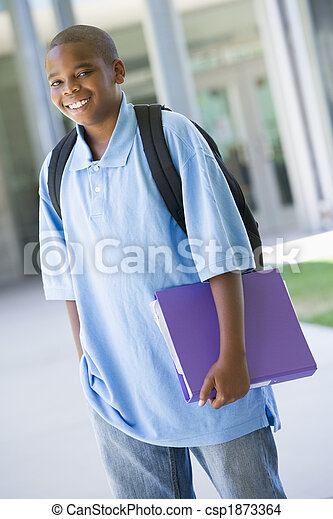 Elementary school pupil outside - csp1873364