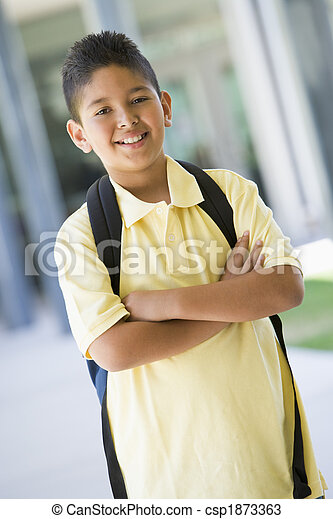 Elementary school pupil outside - csp1873363