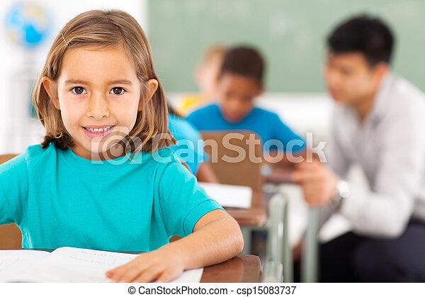 elementary school student in classroom - csp15083737