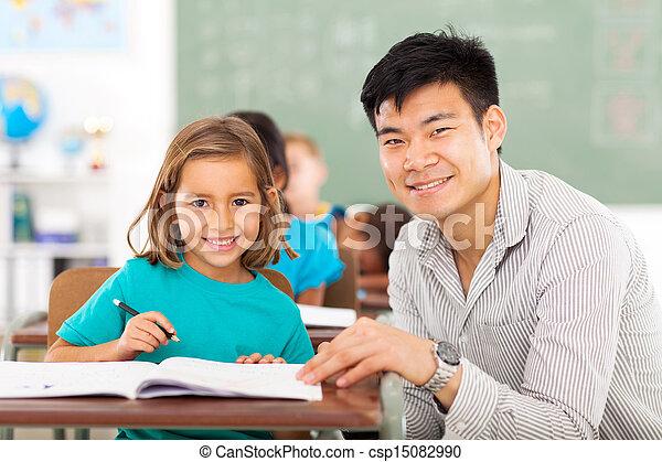 elementary school teacher helping student in classroom - csp15082990