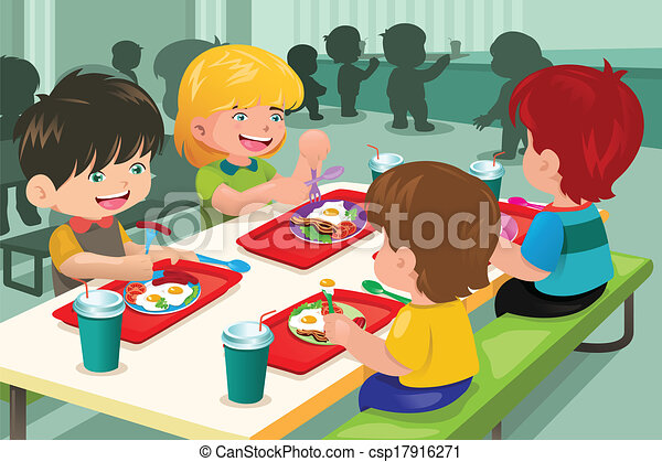 Elementary students eating lunch in cafeteria - csp17916271