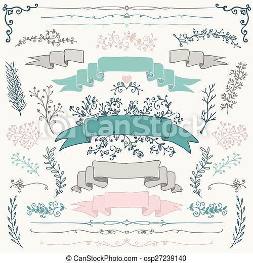 elemente, bunte, hand, vektor, design, blumen-, gezeichnet - csp27239140