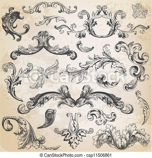 elemente, dekoration, rahmen, sammlung, calligraphic, vektor, design, weinlese, blumen, seite, set: - csp11506861