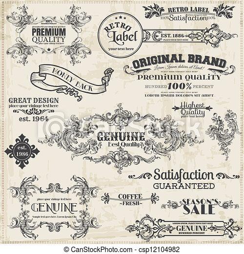 elemente, dekoration, rahmen, sammlung, calligraphic, vektor, design, weinlese, seite, set: - csp12104982