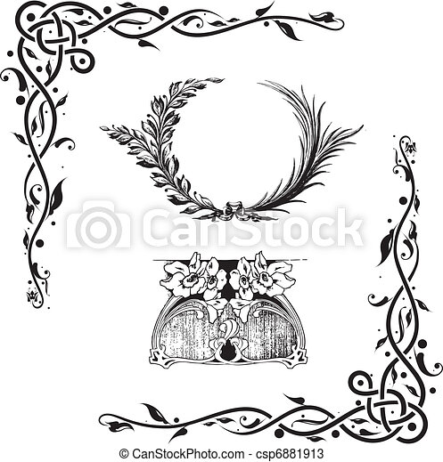 elemente, dekorativ, floral entwurf - csp6881913