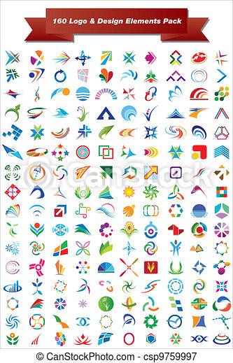 elemente, &, design, logo, 160, satz - csp9759997