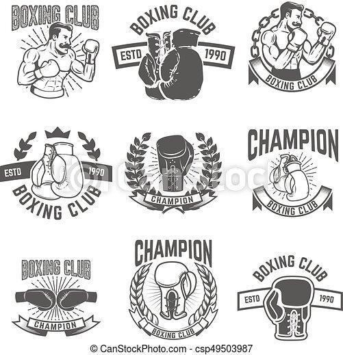 Boxclub-Labels. Designelemente für Logo, Label, embl - csp49503987
