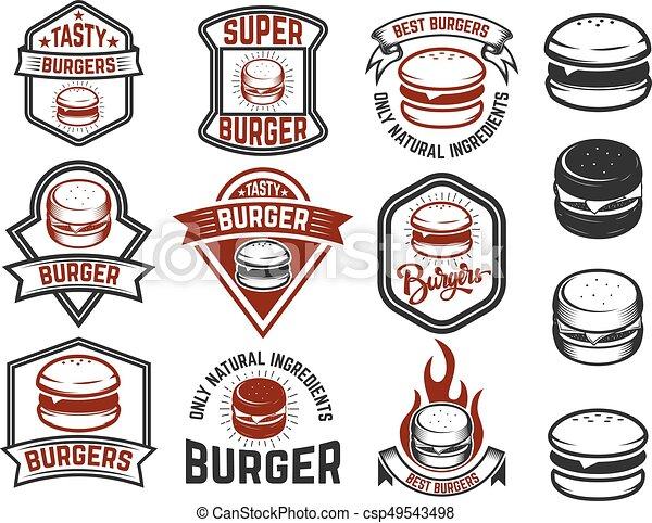 Ein paar Burger-Etiketten. Designelemente für Logo, Emblem, Menü, Si - csp49543498
