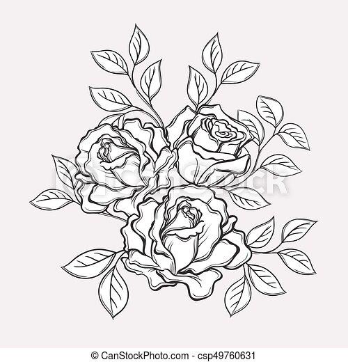Elemente, illustration., rose, leaves., hand, vektor,... Vektoren ...
