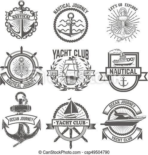 Eine Reihe von Yachtclub-Labels. Nautisch. Designelemente für Logo, la - csp49504790