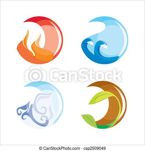 Elemente, luft, (vector)., feuer, vier, wasser, boden EPS Vektoren ...