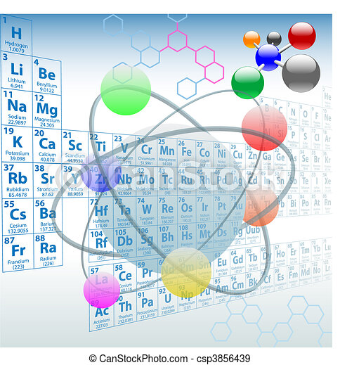 elemente, periodisch, design, atomar, tisch, chemie - csp3856439