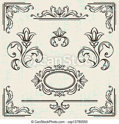 Kalliraphische Design-Elemente und die Seite der Dekorationsrahmen. - csp13780550