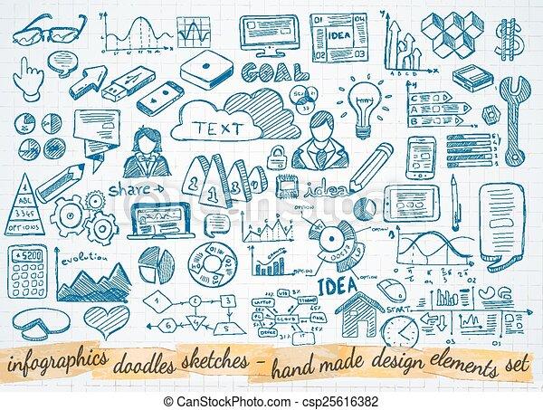 elementi, affari, isolato, set, infographics, schizzo, doodles, : - csp25616382