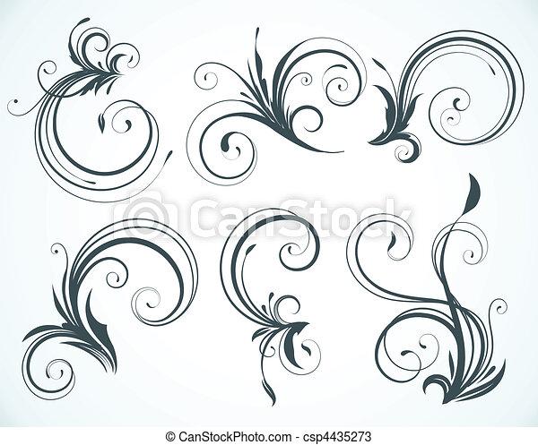 elementi, decorativo, floreale - csp4435273