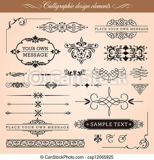 elementi, disegno, calligraphic - csp12065925
