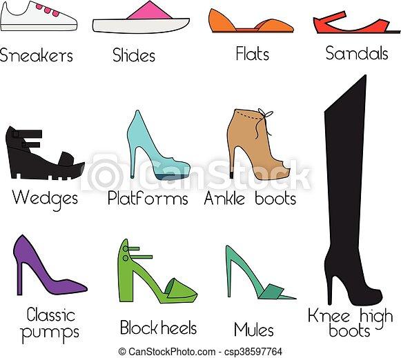 competitive price 6f48e 3aedd elementi, scarpe, women., icone, modelli, set, vettore, disegno