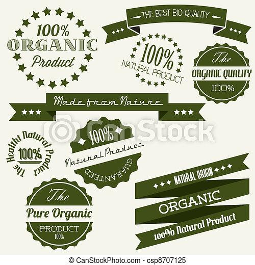 elementi, vecchio, organico, vendemmia, vettore, retro, articoli, naturale - csp8707125