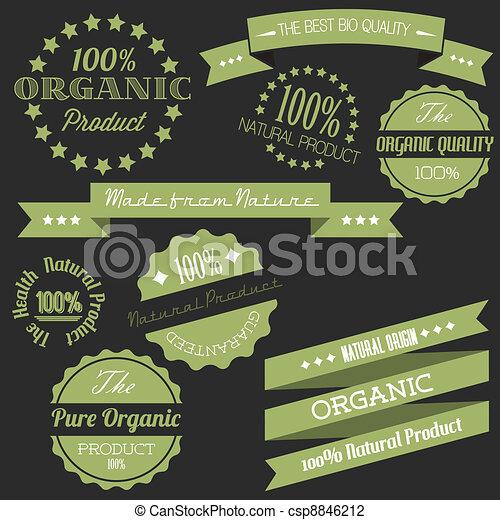 elementos, antigas, orgânica, vindima, vetorial, retro, itens, natural - csp8846212