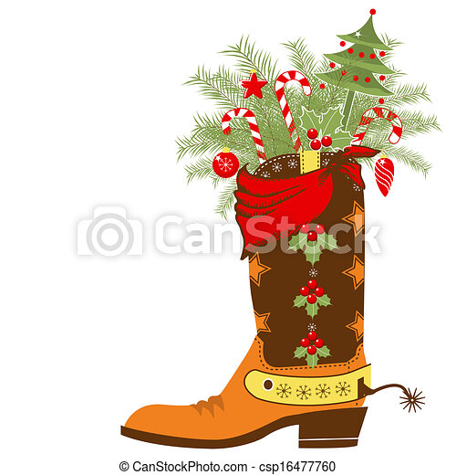 Bota de vaquero con elementos navideños aislados en blanco - csp16477760