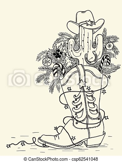Bota de vaquero con elementos navideños aislados en blanco. Ilustración dibujada a mano - csp62541048