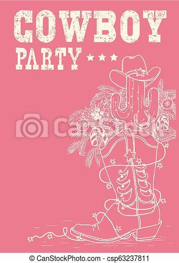 Bota de vaquero con elementos navideños. El vaquero vector de la fiesta dibujado a mano - csp63237811