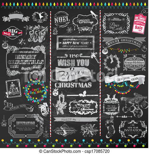 elementos, decoração, calligraphic, vetorial, desenho, vindima, bordas, natal, set:, página - csp17085720