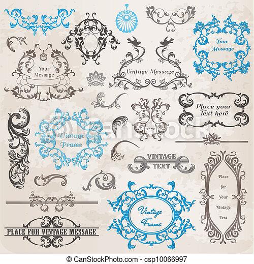 elementos, decoração, quadro, cobrança, calligraphic, vetorial, desenho, vindima, flores, página, set: - csp10066997