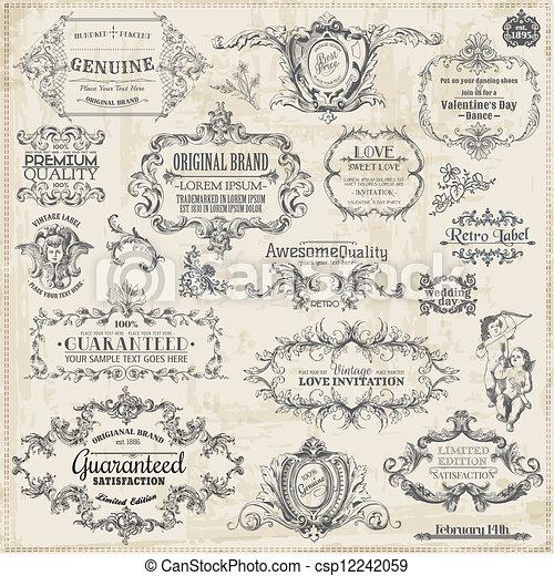 elementos, decoração, quadro, cobrança, calligraphic, vetorial, desenho, vindima, página, set: - csp12242059