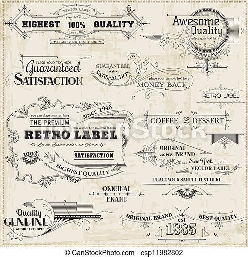 Diseños caligráficos y decoración de páginas, colección de marcos antiguos - csp11982802