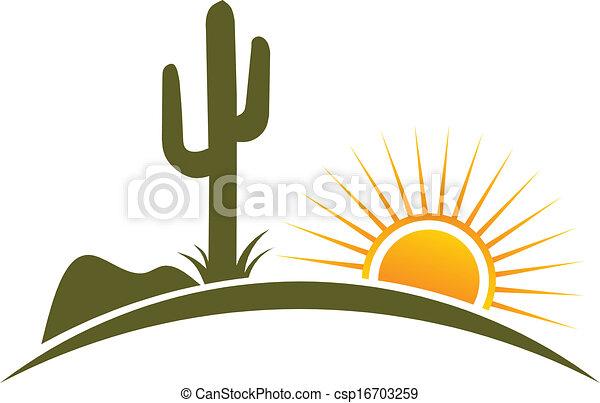 El diseño del desierto es logotipo solar - csp16703259