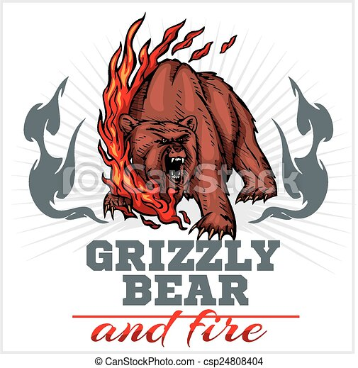 Clip art vectorial de elementos emblema oso pardo  fuego oso