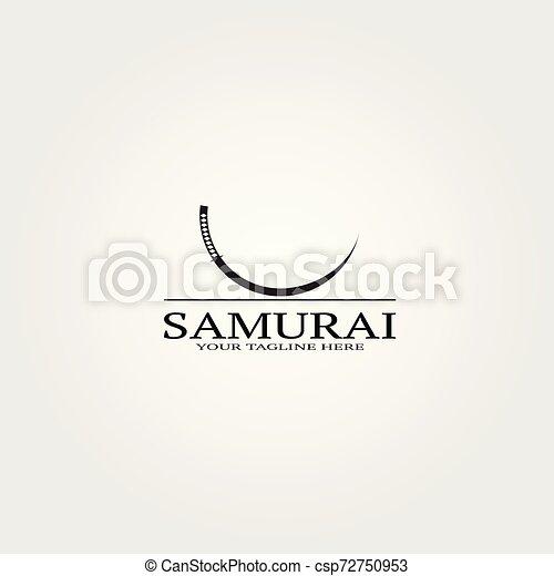 La plantilla del logo de la espada samurai, el logotipo vector para empresas de negocios, Japón, ninja japonés, elementos, ilustraciones. - csp72750953