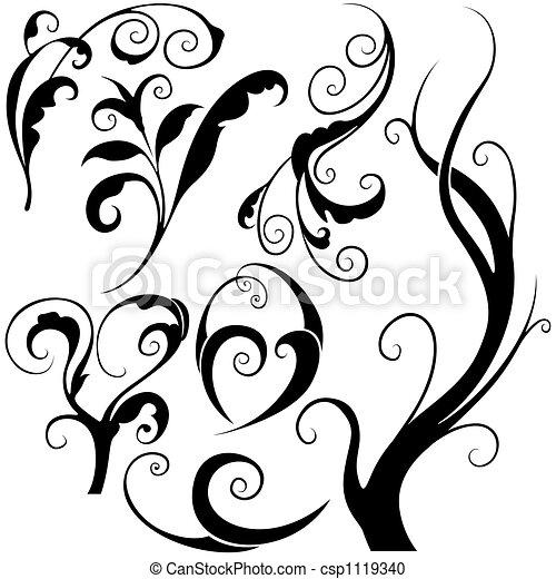 elementos florais, m - csp1119340