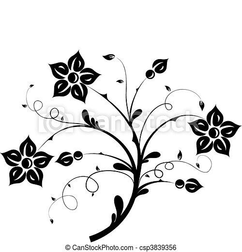 Elementos florales para el diseño, vector - csp3839356