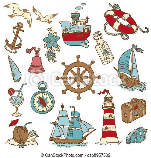 Elementos del Mar de Fideo, para tu diseño, álbum de recortes en vector - csp8957502