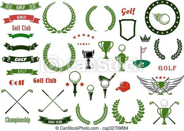 Elementos, golf, artículos, deporte, o, golfing. Golf, protector ...