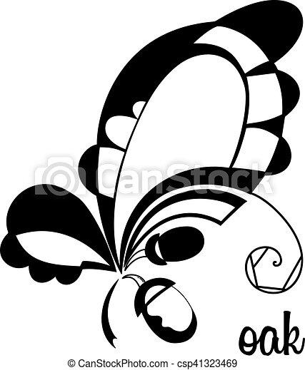 Elementos, hojas, roble, vector, negro, design.stylizd, acorns ...