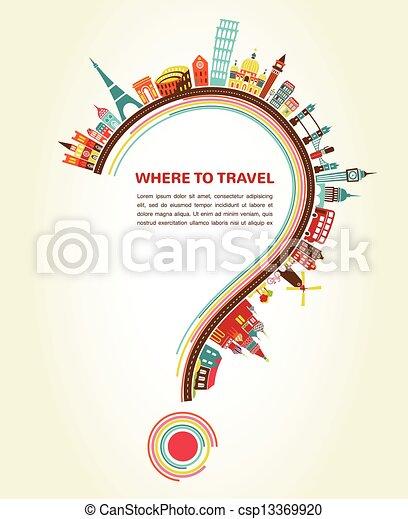 Donde viajar, signo de interrogación con iconos de turismo y elementos - csp13369920
