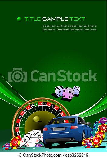 Elementos casino con imagen de auto. Ilustración del vector - csp3262349