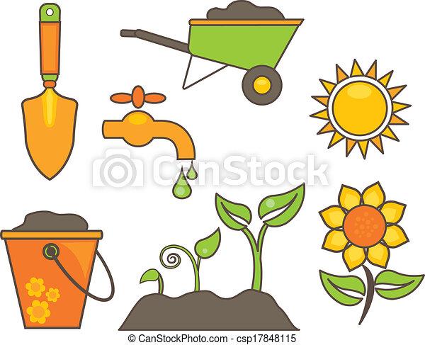Elementos jardiner a ilustraci n 10 elementos for Elementos de jardineria