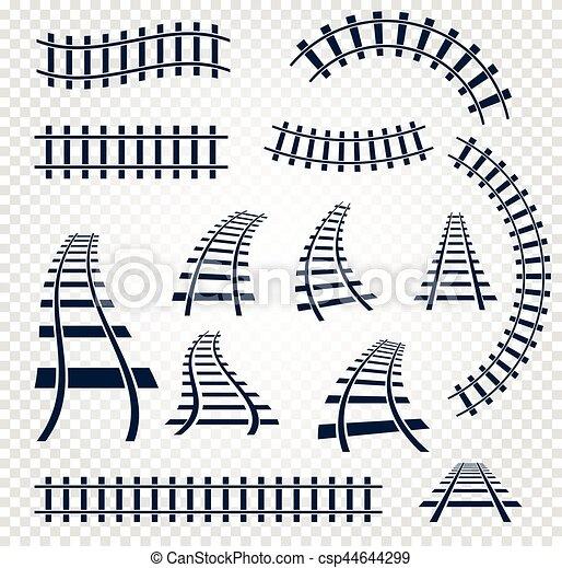 elementos, jogo, escada, cobrança, isolado, trilhos, topo, curvy, experiência., vetorial, ilustrações, estrada ferro, branca, direito, vista - csp44644299