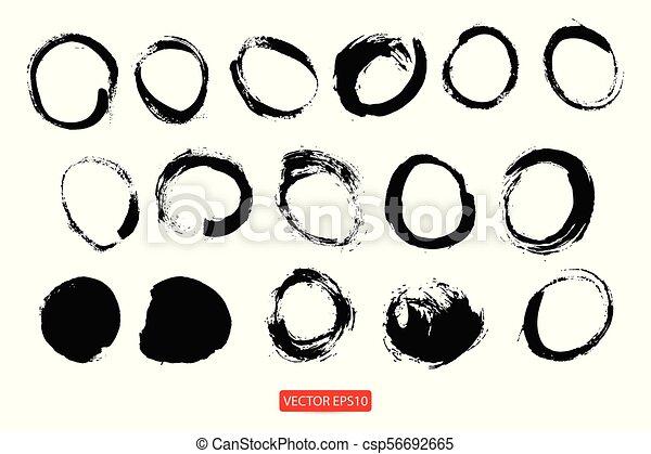 Círculos dibujados a mano, elementos de diseño de logo vector - csp56692665