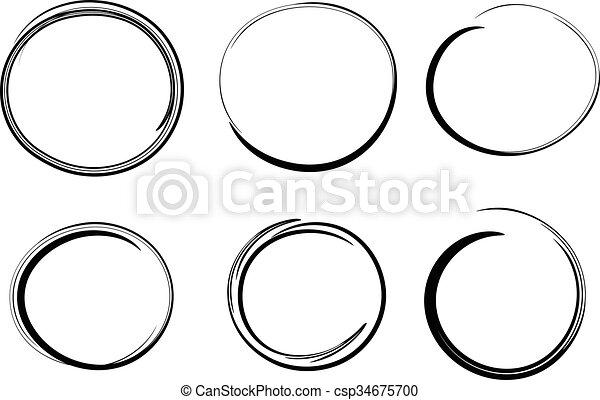 Círculos dibujados a mano, elementos de diseño vectorial - csp34675700